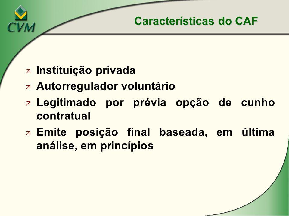 ä Instituição privada ä Autorregulador voluntário ä Legitimado por prévia opção de cunho contratual ä Emite posição final baseada, em última análise, em princípios Características do CAF