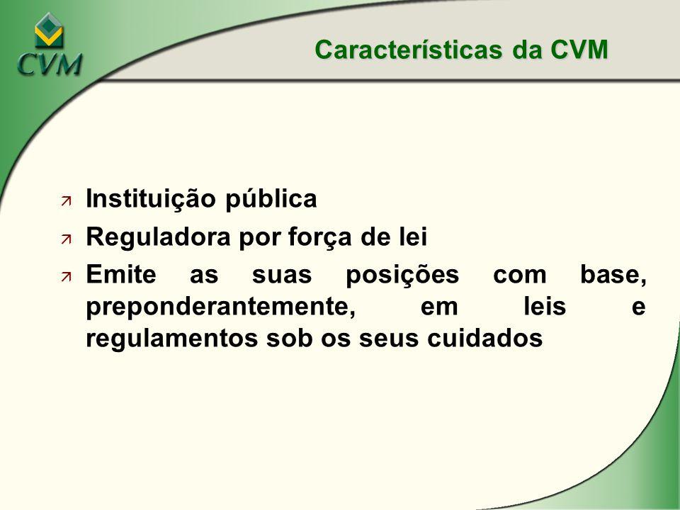 ä Instituição pública ä Reguladora por força de lei ä Emite as suas posições com base, preponderantemente, em leis e regulamentos sob os seus cuidados Características da CVM