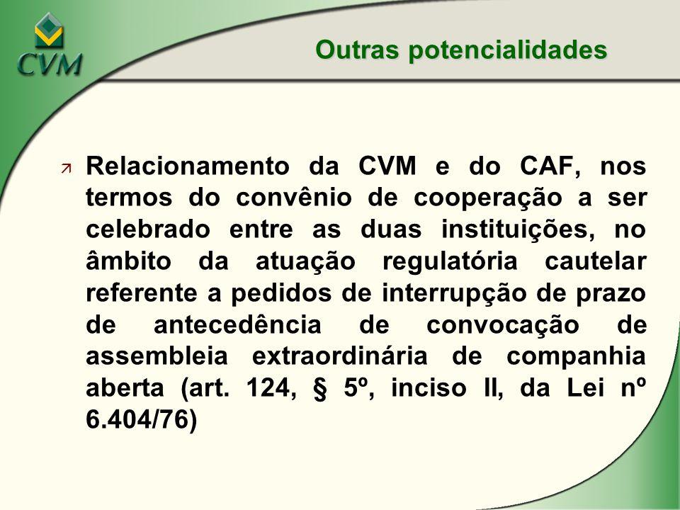 ä Relacionamento da CVM e do CAF, nos termos do convênio de cooperação a ser celebrado entre as duas instituições, no âmbito da atuação regulatória cautelar referente a pedidos de interrupção de prazo de antecedência de convocação de assembleia extraordinária de companhia aberta (art.