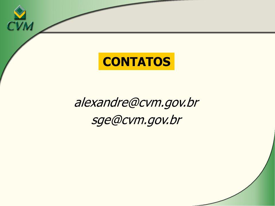 CONTATOS alexandre@cvm.gov.br sge@cvm.gov.br
