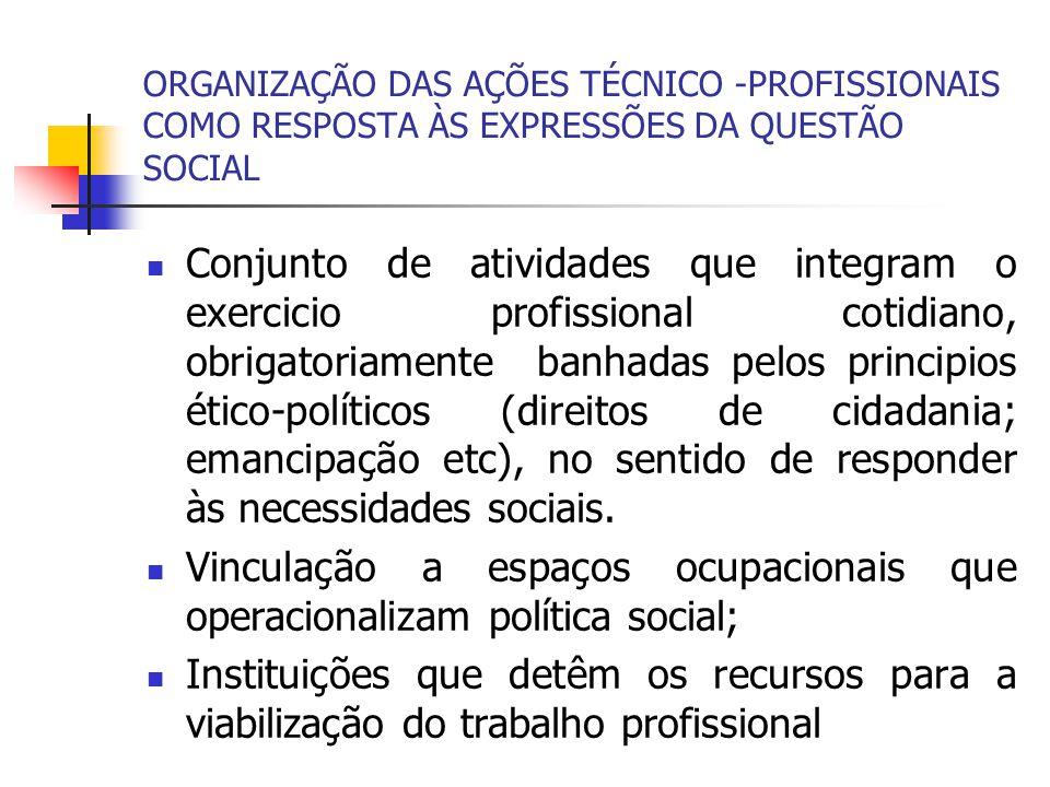 ORGANIZAÇÃO DAS AÇÕES TÉCNICO -PROFISSIONAIS COMO RESPOSTA ÀS EXPRESSÕES DA QUESTÃO SOCIAL Conjunto de atividades que integram o exercicio profissional cotidiano, obrigatoriamente banhadas pelos principios ético-políticos (direitos de cidadania; emancipação etc), no sentido de responder às necessidades sociais.