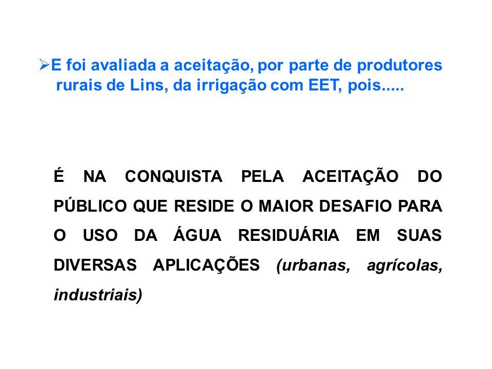 É NA CONQUISTA PELA ACEITAÇÃO DO PÚBLICO QUE RESIDE O MAIOR DESAFIO PARA O USO DA ÁGUA RESIDUÁRIA EM SUAS DIVERSAS APLICAÇÕES (urbanas, agrícolas, industriais)  E foi avaliada a aceitação, por parte de produtores rurais de Lins, da irrigação com EET, pois.....
