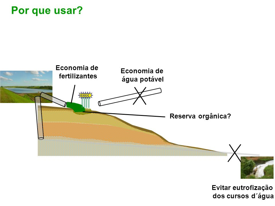Evitar eutrofização dos cursos d´água Economia de água potável Economia de fertilizantes Reserva orgânica? Por que usar?
