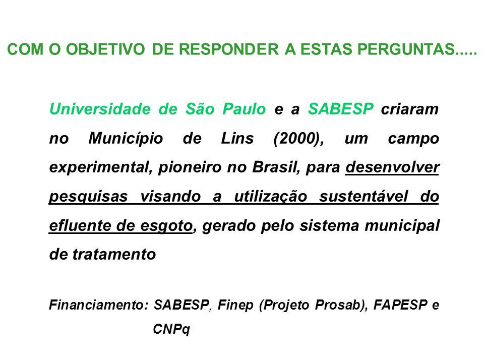 Universidade de São Paulo e a SABESP criaram no Município de Lins (2000), um campo experimental, pioneiro no Brasil, para desenvolver pesquisas visando a utilização sustentável do efluente de esgoto, gerado pelo sistema municipal de tratamento Financiamento: SABESP, Finep (Projeto Prosab), FAPESP e CNPq COM O OBJETIVO DE RESPONDER A ESTAS PERGUNTAS.....
