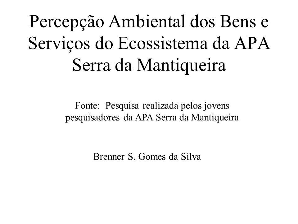 Percepção Ambiental dos Bens e Serviços do Ecossistema da APA Serra da Mantiqueira Fonte: Pesquisa realizada pelos jovens pesquisadores da APA Serra da Mantiqueira Brenner S.