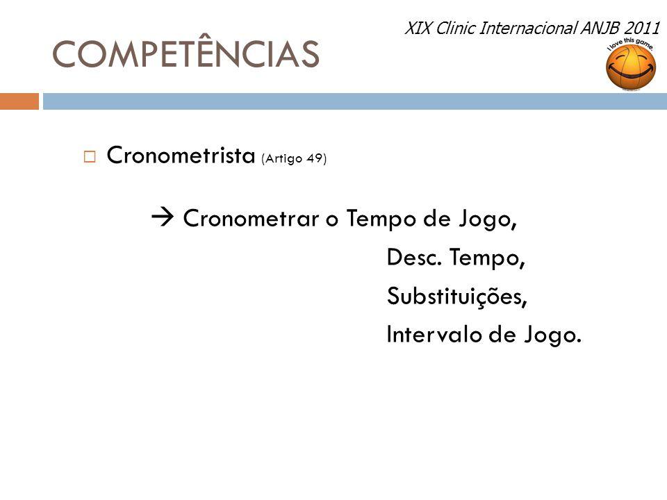 COMPETÊNCIAS  Cronometrista (Artigo 49)  Cronometrar o Tempo de Jogo, Desc. Tempo, Substituições, Intervalo de Jogo. XIX Clinic Internacional ANJB 2