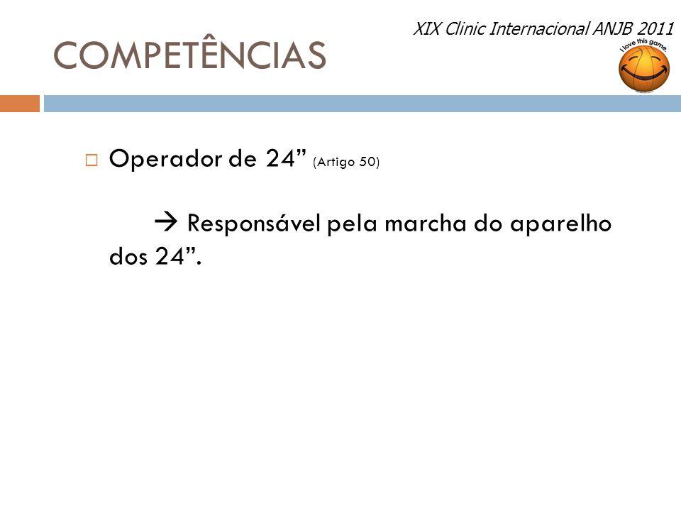 """COMPETÊNCIAS  Operador de 24"""" (Artigo 50)  Responsável pela marcha do aparelho dos 24"""". XIX Clinic Internacional ANJB 2011"""