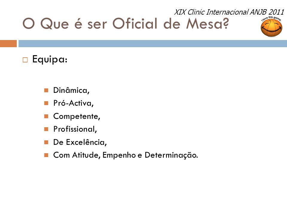 O Que é ser Oficial de Mesa?  Equipa: Dinâmica, Pró-Activa, Competente, Profissional, De Excelência, Com Atitude, Empenho e Determinação. XIX Clinic