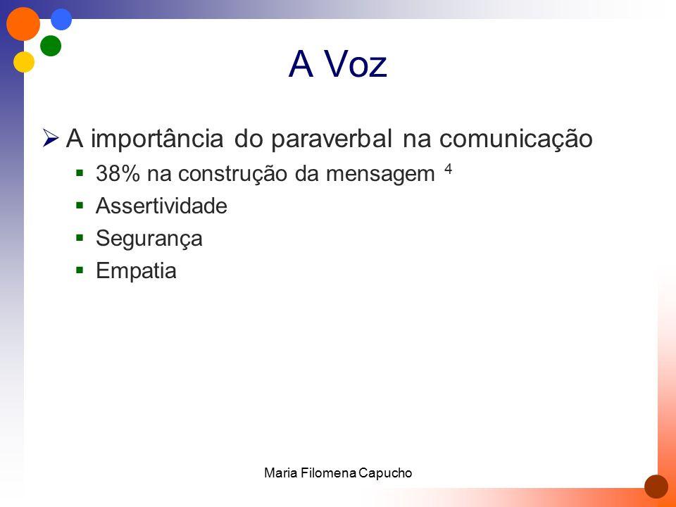 A Voz  A importância do paraverbal na comunicação  38% na construção da mensagem 4  Assertividade  Segurança  Empatia Maria Filomena Capucho