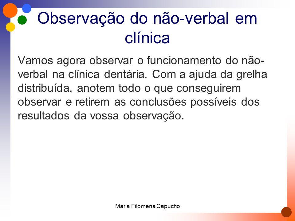 Observação do não-verbal em clínica Vamos agora observar o funcionamento do não- verbal na clínica dentária. Com a ajuda da grelha distribuída, anotem