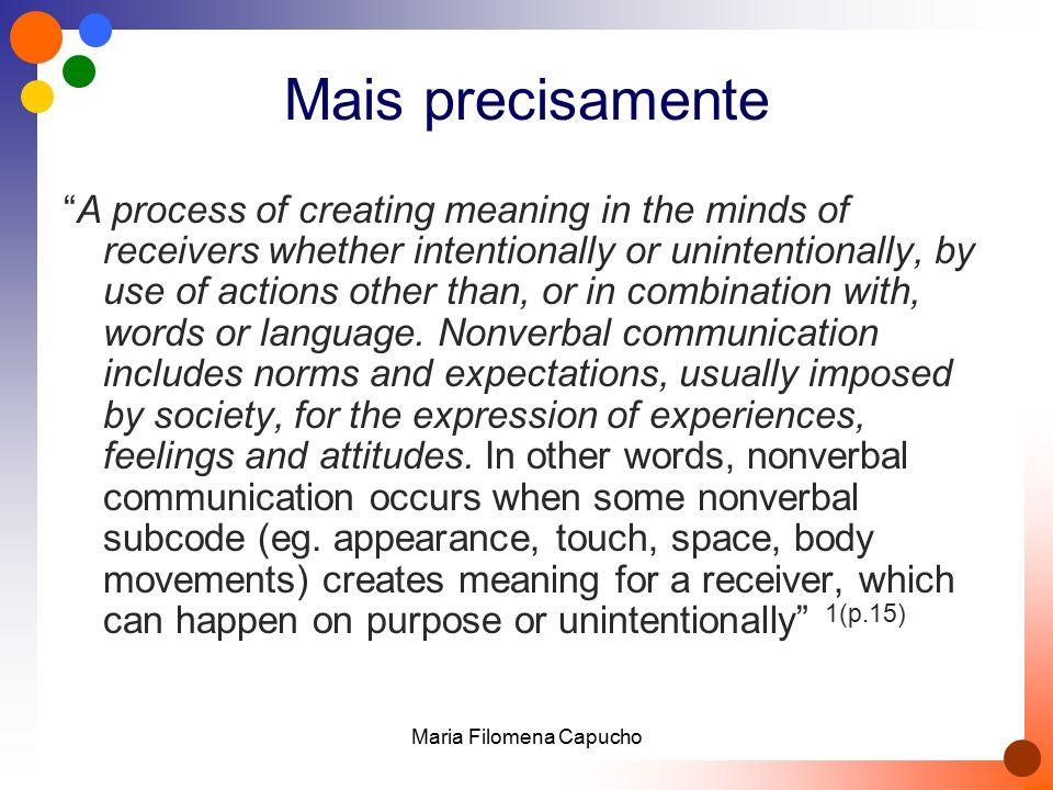 Comportamento não verbal vs comunicação não verbal  We use the word communication only when a receiver has interpreted a message as having some meaning.