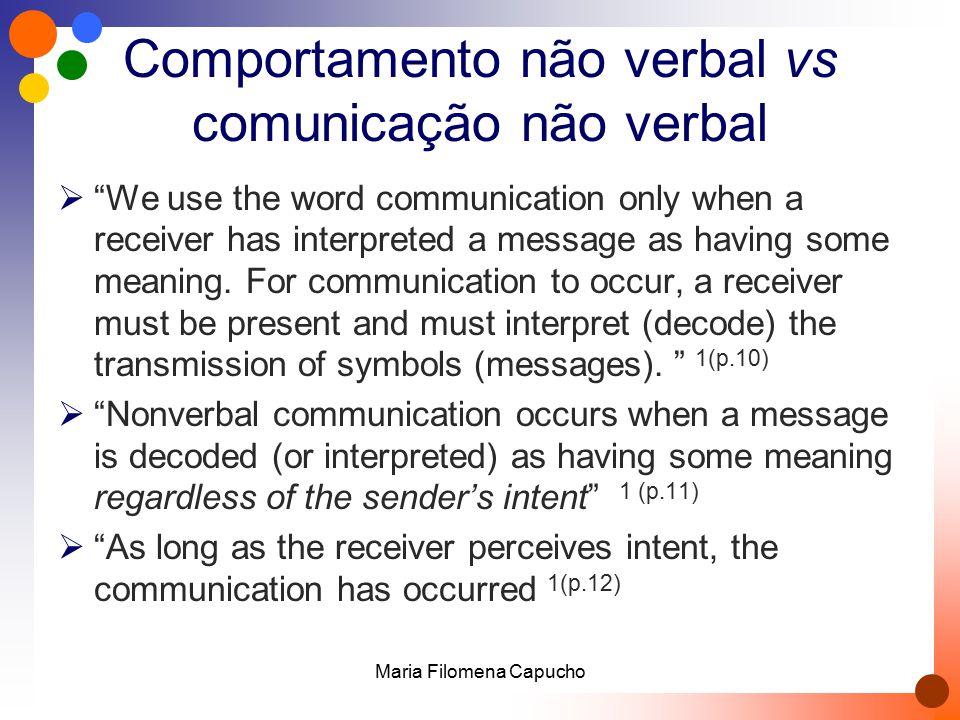 Comunicação verbal vs comunicação não verbal  Não se excluem  Podem ser complementares  Podem ser contraditórias  Podem ser simultâneas Maria Filomena Capucho