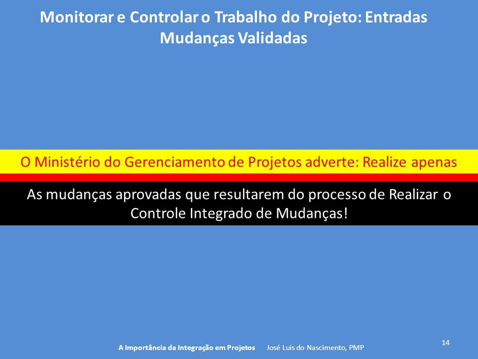 14 A Importância da Integração em Projetos José Luis do Nascimento, PMP Monitorar e Controlar o Trabalho do Projeto: Entradas Mudanças Validadas As mu
