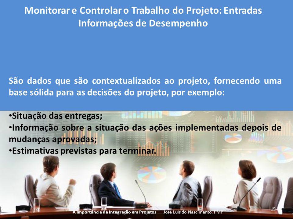 15 A Importância da Integração em Projetos José Luis do Nascimento, PMP Monitorar e Controlar o Trabalho do Projeto: Entradas Informações de Desempenh