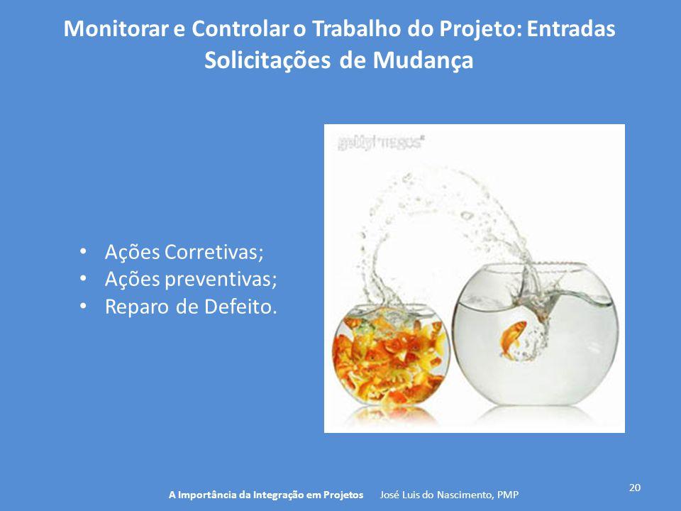 20 A Importância da Integração em Projetos José Luis do Nascimento, PMP Monitorar e Controlar o Trabalho do Projeto: Entradas Solicitações de Mudança