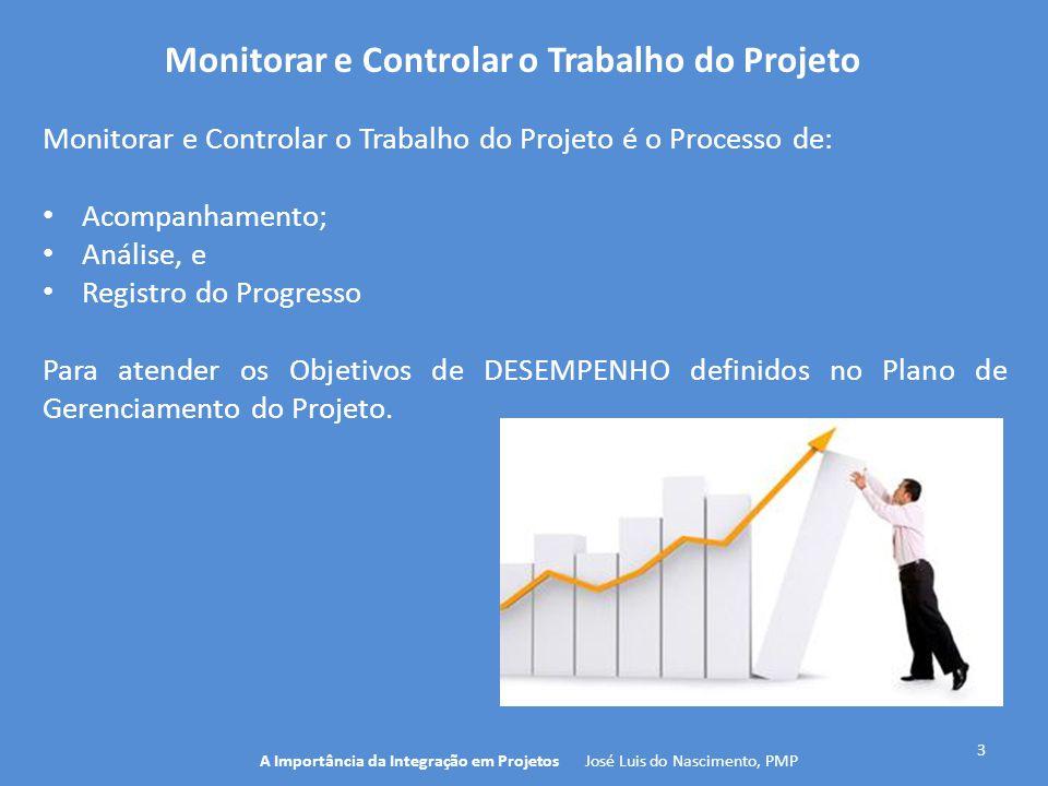 3 A Importância da Integração em Projetos José Luis do Nascimento, PMP Monitorar e Controlar o Trabalho do Projeto é o Processo de: Acompanhamento; An