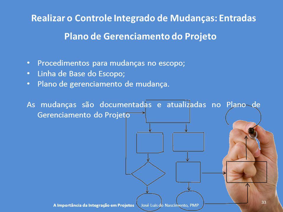Realizar o Controle Integrado de Mudanças: Entradas 33 Procedimentos para mudanças no escopo; Linha de Base do Escopo; Plano de gerenciamento de mudan