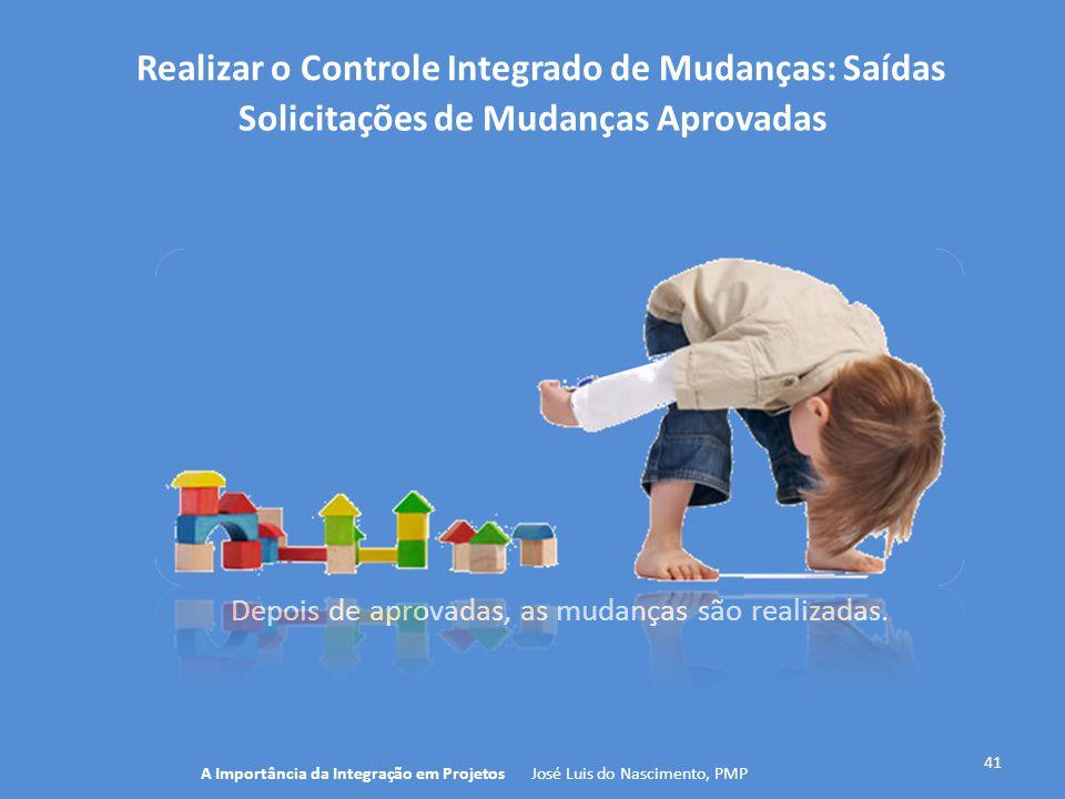 Realizar o Controle Integrado de Mudanças: Saídas 41 A Importância da Integração em Projetos José Luis do Nascimento, PMP Solicitações de Mudanças Apr