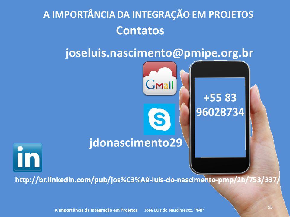 +55 83 96028734 55 A Importância da Integração em Projetos José Luis do Nascimento, PMP A IMPORTÂNCIA DA INTEGRAÇÃO EM PROJETOS jdonascimento29 Contat