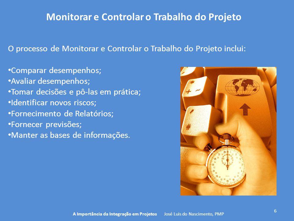 7 A Importância da Integração em Projetos José Luis do Nascimento, PMP Monitorar e Controlar o Trabalho do Projeto 4.2 Desenvolver o Plano de Gerenciamento do Projeto 5.5 Controlar o Escopo 10.3 Controlar as Comunicações Empresa/ Organização 11.6 Controlar os Riscos 12.3 Controlar as Aquisições 13.4 Controlar o Engajamento dos Stakeholders 5.5 Controlar o Cronograma 10.3 Controlar os Custos 11.6 Controlar a Qualidade 12.3 Controlar as Aquisições Documentos do Projeto 4.5 Realizar o Controle Integrado de Mudança 4.4 Monitorar & Controlar o Trabalho do Projeto 9.4 Gerenciar o time do projeto