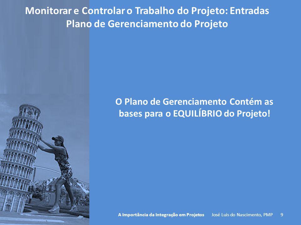 9 A Importância da Integração em Projetos José Luis do Nascimento, PMP O Plano de Gerenciamento Contém as bases para o EQUILÍBRIO do Projeto! Monitora