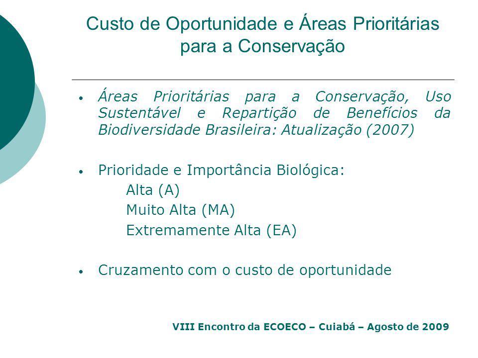 VIII Encontro da ECOECO – Cuiabá – Agosto de 2009 Custo de Oportunidade e Áreas Prioritárias para a Conservação Áreas Prioritárias para a Conservação,