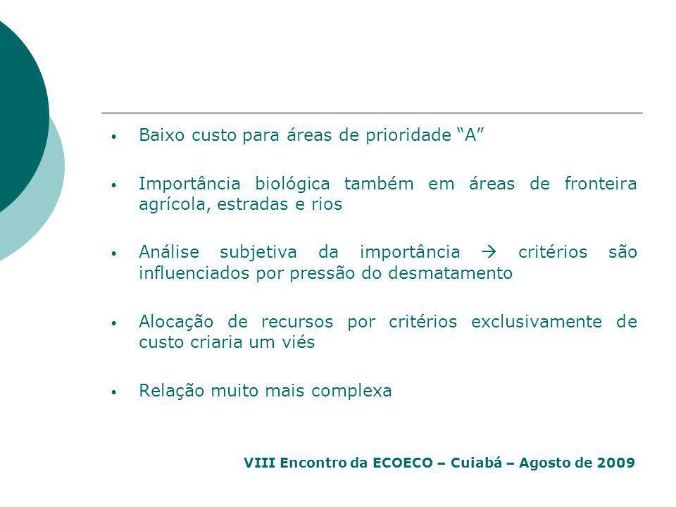 """VIII Encontro da ECOECO – Cuiabá – Agosto de 2009 Baixo custo para áreas de prioridade """"A"""" Importância biológica também em áreas de fronteira agrícola"""