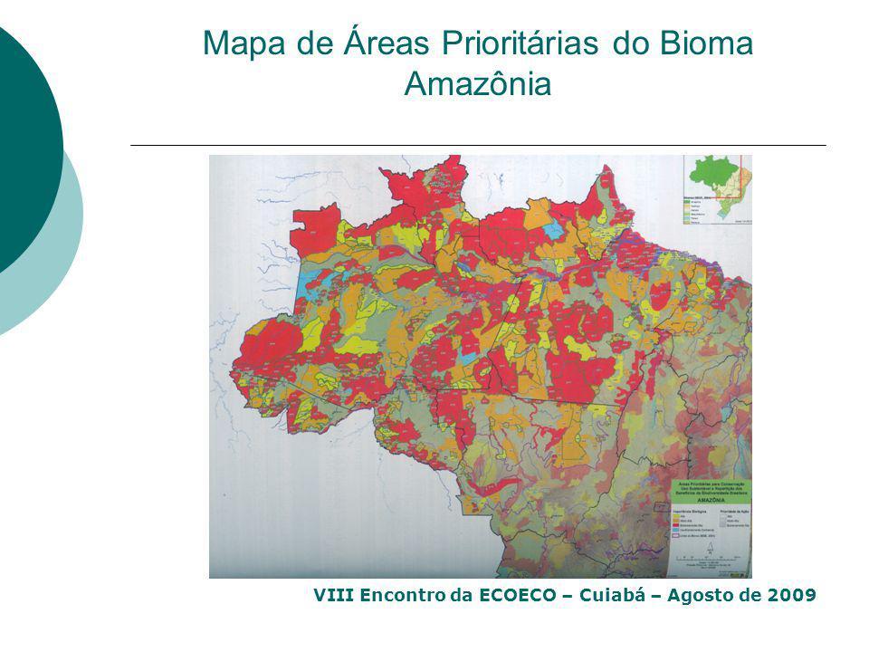 VIII Encontro da ECOECO – Cuiabá – Agosto de 2009 Mapa de Áreas Prioritárias do Bioma Amazônia