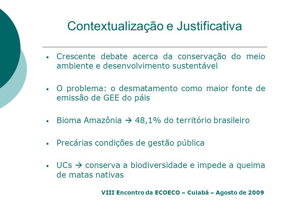 VIII Encontro da ECOECO – Cuiabá – Agosto de 2009 Contextualização e Justificativa Crescente debate acerca da conservação do meio ambiente e desenvolv