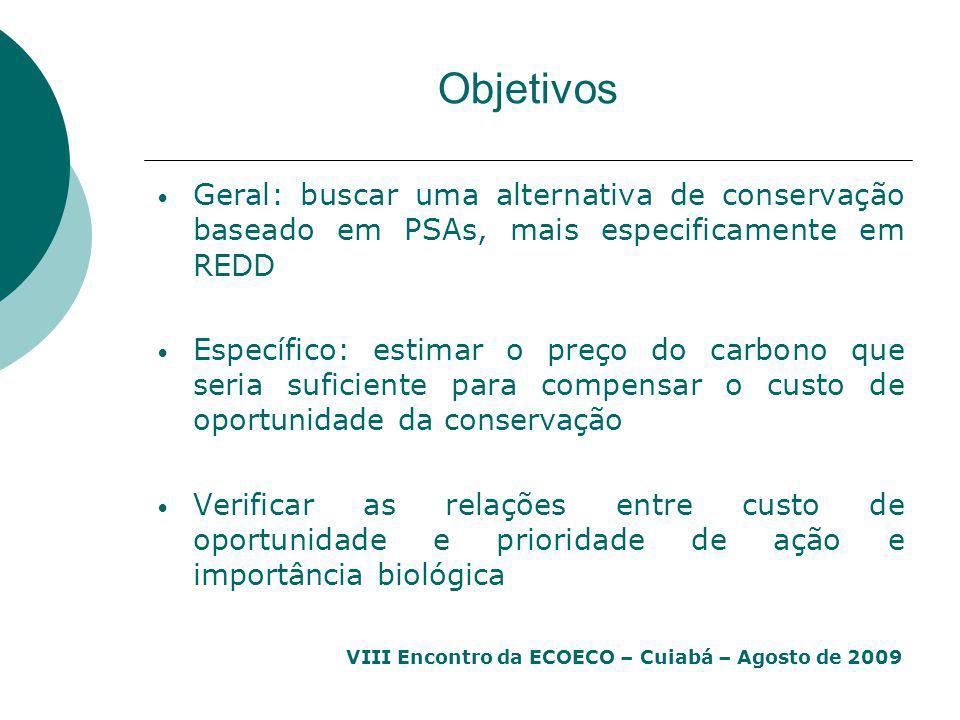 VIII Encontro da ECOECO – Cuiabá – Agosto de 2009 Objetivos Geral: buscar uma alternativa de conservação baseado em PSAs, mais especificamente em REDD