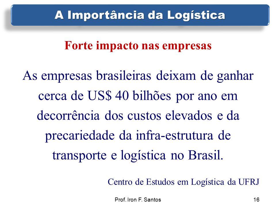 Prof. Iron F. Santos16 Forte impacto nas empresas As empresas brasileiras deixam de ganhar cerca de US$ 40 bilhões por ano em decorrência dos custos e