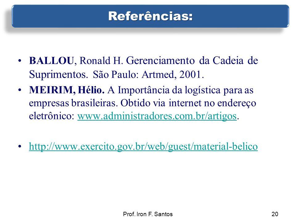 Prof. Iron F. Santos20 BALLOU, Ronald H. Gerenciamento da Cadeia de Suprimentos. São Paulo: Artmed, 2001. MEIRIM, Hélio. A Importância da logística pa