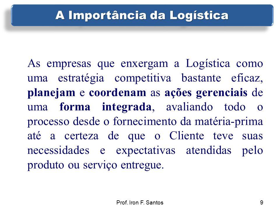 Prof. Iron F. Santos9 As empresas que enxergam a Logística como uma estratégia competitiva bastante eficaz, planejam e coordenam as ações gerenciais d