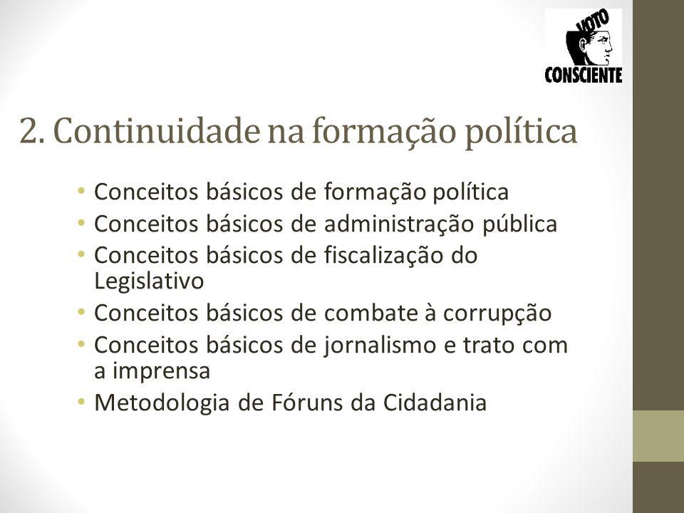 2. Continuidade na formação política Conceitos básicos de formação política Conceitos básicos de administração pública Conceitos básicos de fiscalizaç