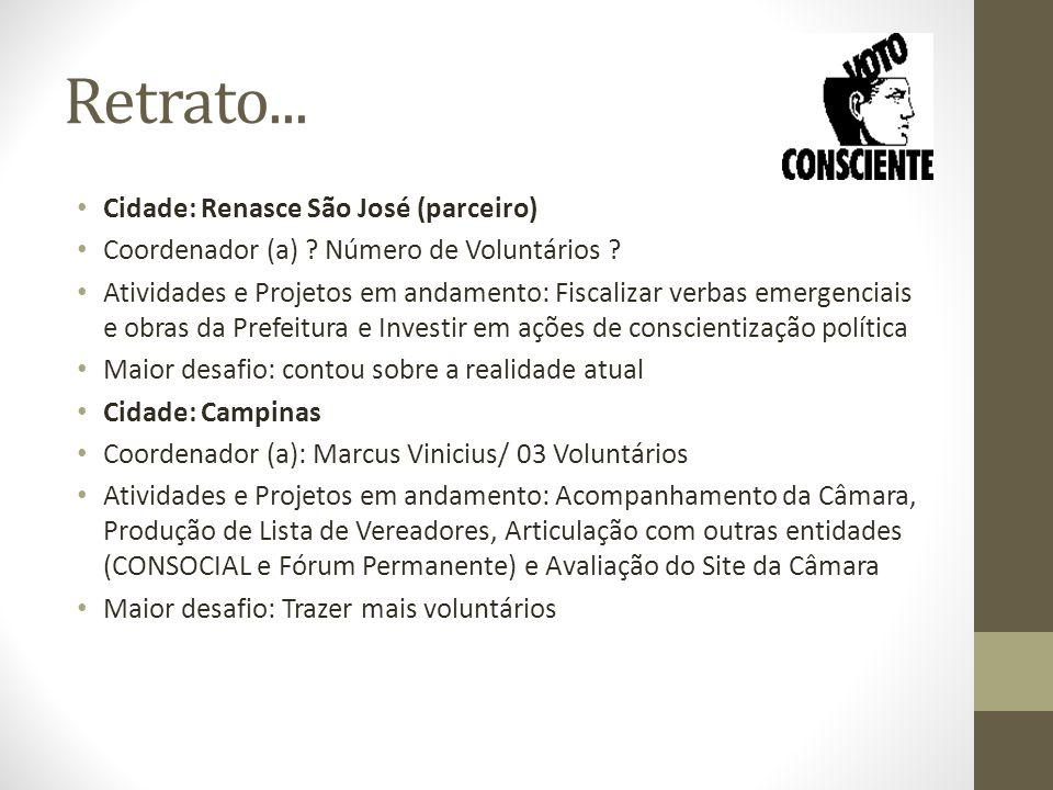 Retrato... Cidade: Renasce São José (parceiro) Coordenador (a) .