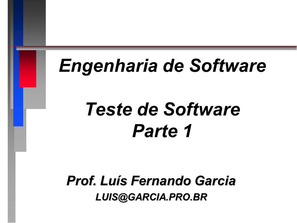 Engenharia de Software Teste de Software Parte 1 Prof. Luís Fernando Garcia LUIS@GARCIA.PRO.BR