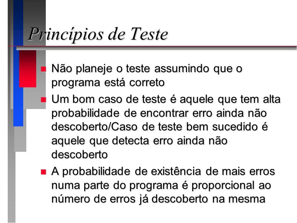 Princípios de Teste n Não planeje o teste assumindo que o programa está correto n Um bom caso de teste é aquele que tem alta probabilidade de encontrar erro ainda não descoberto/Caso de teste bem sucedido é aquele que detecta erro ainda não descoberto n A probabilidade de existência de mais erros numa parte do programa é proporcional ao número de erros já descoberto na mesma