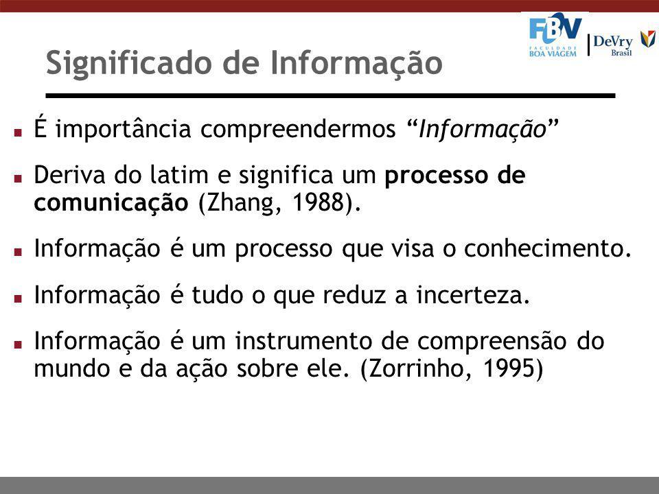 """Significado de Informação n É importância compreendermos """"Informação"""" n Deriva do latim e significa um processo de comunicação (Zhang, 1988). n Inform"""