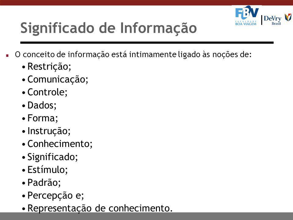 Significado de Informação n O conceito de informação está intimamente ligado às noções de: Restrição; Comunicação; Controle; Dados; Forma; Instrução;