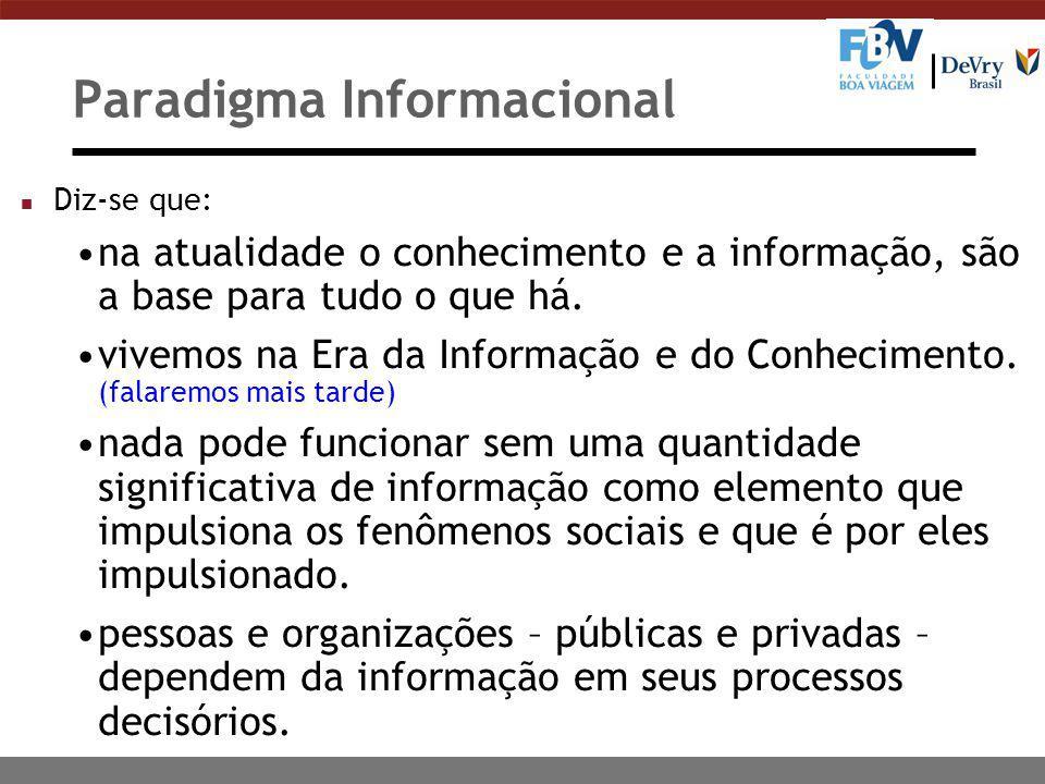 Paradigma Informacional n Diz-se que: na atualidade o conhecimento e a informação, são a base para tudo o que há. vivemos na Era da Informação e do Co