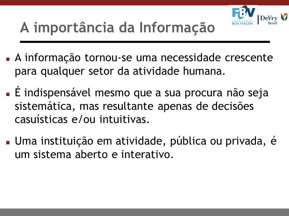 A importância da Informação n A informação tornou-se uma necessidade crescente para qualquer setor da atividade humana. n É indispensável mesmo que a