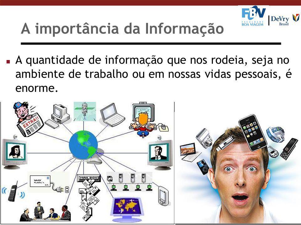 A importância da Informação n A quantidade de informação que nos rodeia, seja no ambiente de trabalho ou em nossas vidas pessoais, é enorme.
