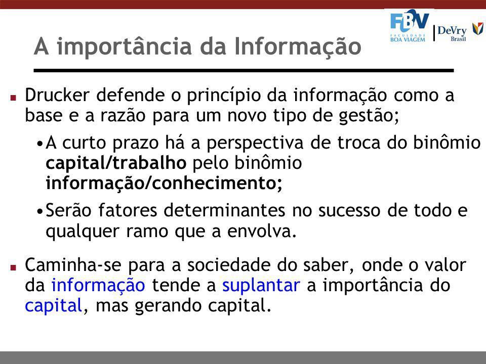 A importância da Informação n Drucker defende o princípio da informação como a base e a razão para um novo tipo de gestão; A curto prazo há a perspect