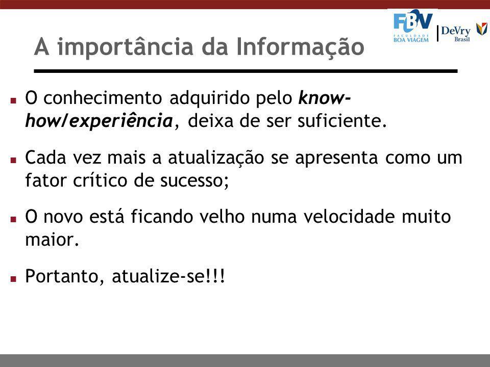 A importância da Informação n O conhecimento adquirido pelo know- how/experiência, deixa de ser suficiente. n Cada vez mais a atualização se apresenta