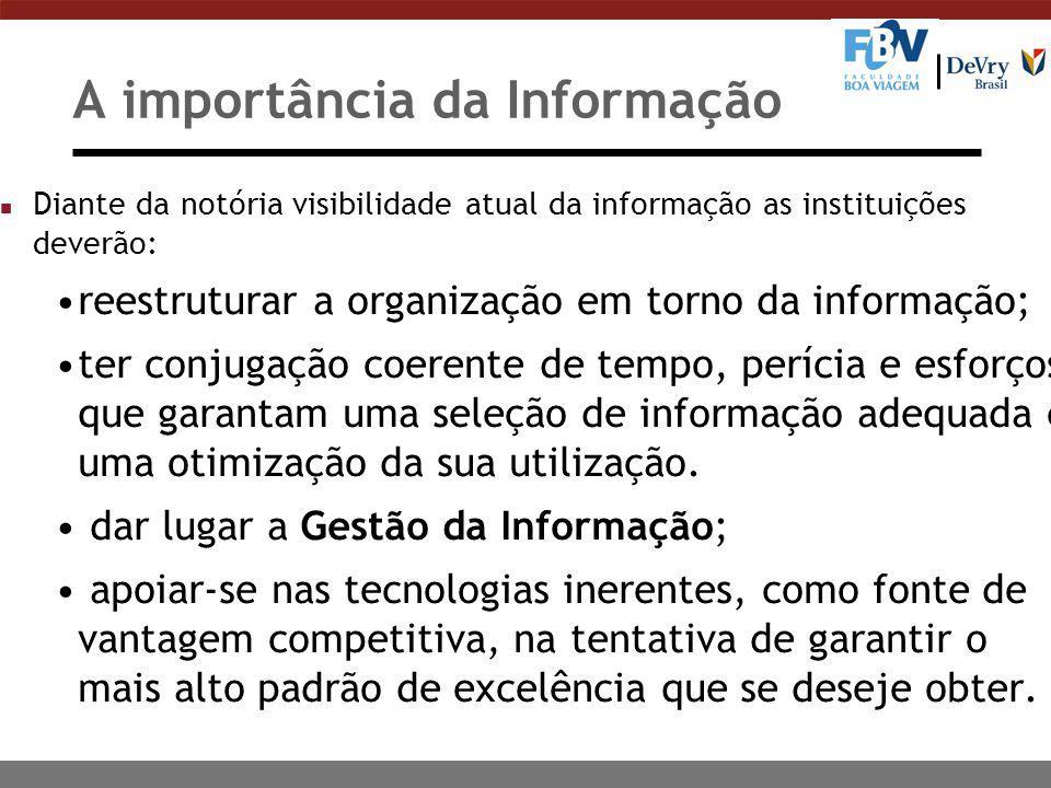 A importância da Informação n Diante da notória visibilidade atual da informação as instituições deverão: reestruturar a organização em torno da infor
