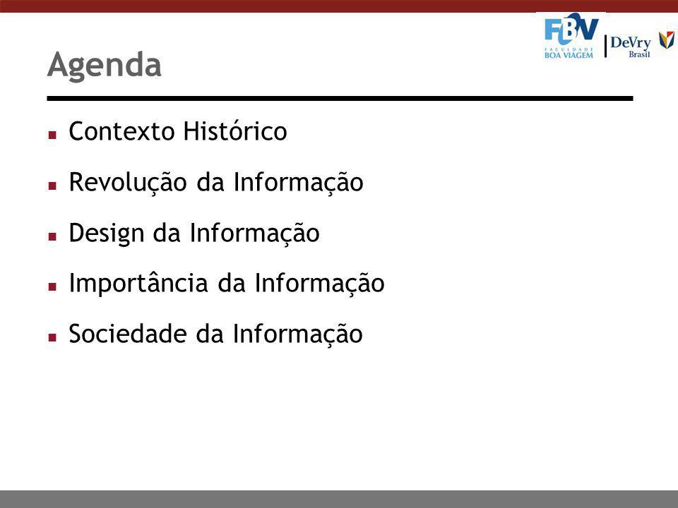 Agenda n Contexto Histórico n Revolução da Informação n Design da Informação n Importância da Informação n Sociedade da Informação