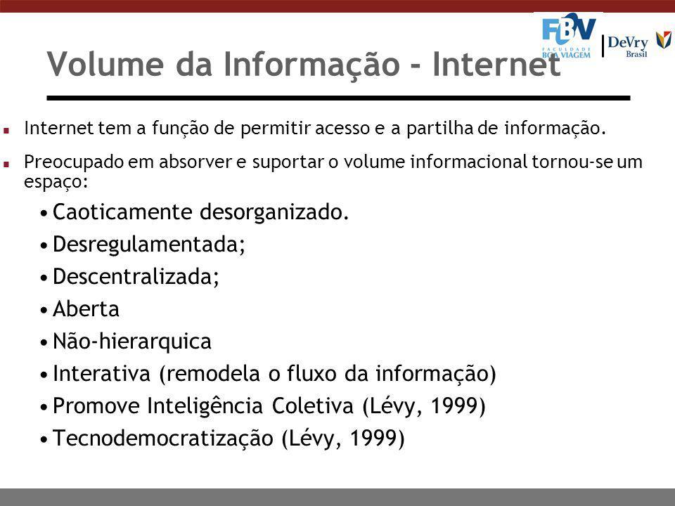 Volume da Informação - Internet n Internet tem a função de permitir acesso e a partilha de informação. n Preocupado em absorver e suportar o volume in