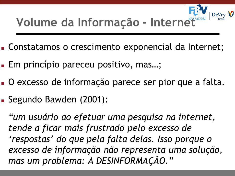 Volume da Informação - Internet n Constatamos o crescimento exponencial da Internet; n Em princípio pareceu positivo, mas…; n O excesso de informação