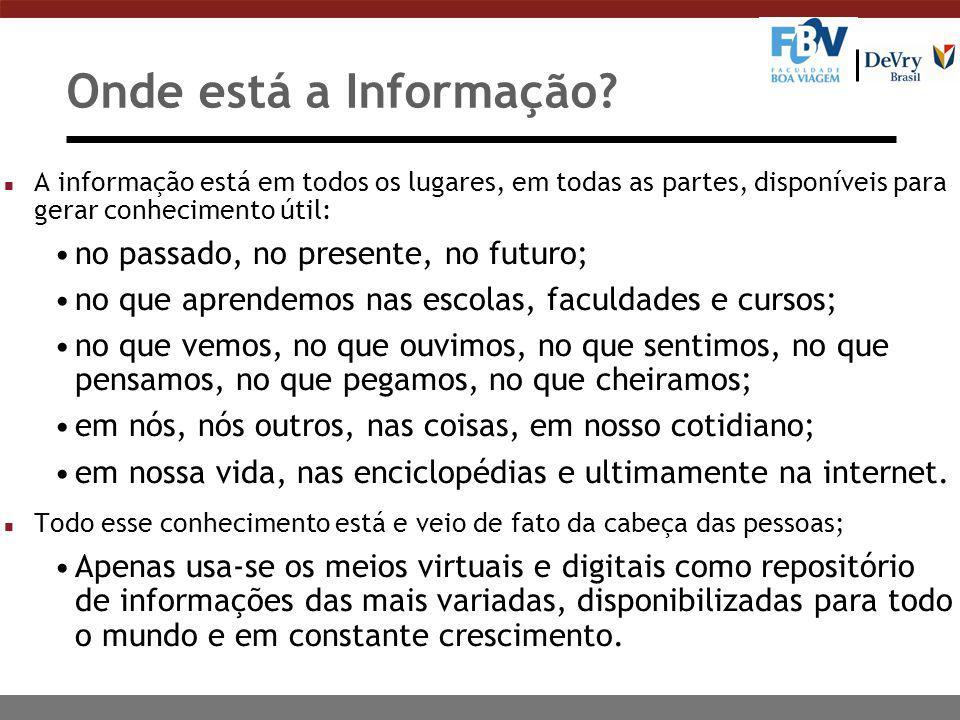 Onde está a Informação? n A informação está em todos os lugares, em todas as partes, disponíveis para gerar conhecimento útil: no passado, no presente