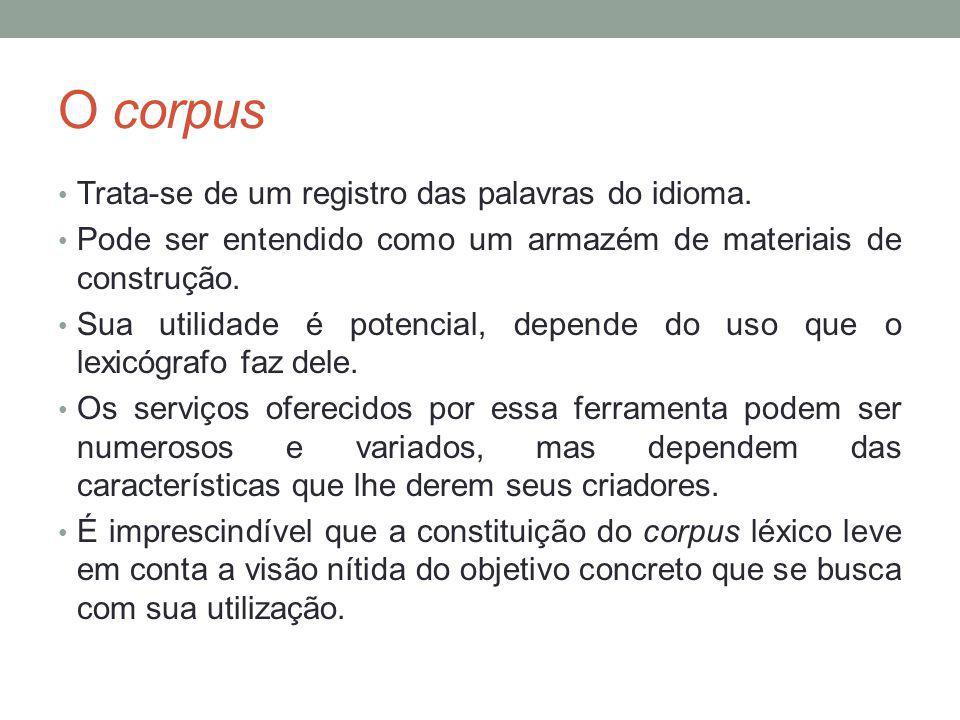 O corpus Trata-se de um registro das palavras do idioma.